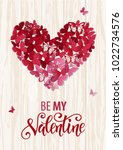 beautiful valentine heart.... | Shutterstock .eps vector #1022734576