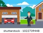businessman using garage door... | Shutterstock .eps vector #1022739448