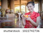 chinese woman wearing... | Shutterstock . vector #1022742736