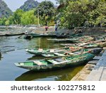 moored rowing boats at tam coc... | Shutterstock . vector #102275812