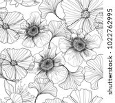 drawing with a pencil   flowers.... | Shutterstock .eps vector #1022762995
