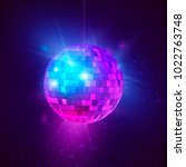 disco ball with bright rays and ... | Shutterstock . vector #1022763748