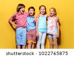 bright summer children. group... | Shutterstock . vector #1022765875