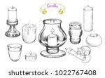 collection of various candles... | Shutterstock .eps vector #1022767408