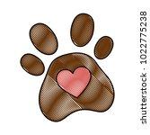 dog footprint with heart | Shutterstock .eps vector #1022775238