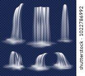 realistic waterfall set. vector ... | Shutterstock .eps vector #1022786992
