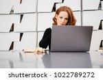 attractive redhead woman... | Shutterstock . vector #1022789272