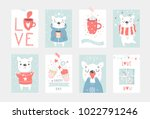 set of 8 cute ready to use gift ... | Shutterstock .eps vector #1022791246