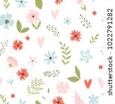 vector floral pattern in doodle ... | Shutterstock .eps vector #1022791282