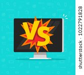 versus battle on computer...   Shutterstock .eps vector #1022791828