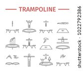 trampoline jumping line icons.... | Shutterstock .eps vector #1022792386