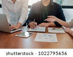 start up partners are working...   Shutterstock . vector #1022795656
