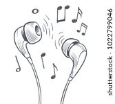hand drawn headphones and... | Shutterstock .eps vector #1022799046