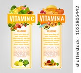 vitamin a and vitamin c banners ... | Shutterstock .eps vector #1022805442