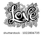 love hand drawn lettering | Shutterstock .eps vector #1022806735