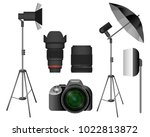 modern camera with lenses and... | Shutterstock .eps vector #1022813872