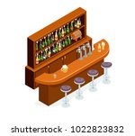 isometric pub bar restaurant... | Shutterstock .eps vector #1022823832