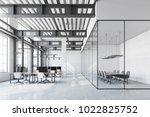 loft office interior with a... | Shutterstock . vector #1022825752