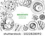 breakfasts top view frame.... | Shutterstock .eps vector #1022828092