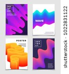 color fluid dynamic shapes.... | Shutterstock .eps vector #1022831122