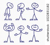 simple hand drawn stick figures ... | Shutterstock .eps vector #1022831182