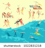 sunbathing  playing and... | Shutterstock .eps vector #1022831218