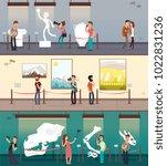 museum gallery with art... | Shutterstock .eps vector #1022831236