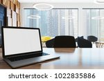 white screen laptop standing on ... | Shutterstock . vector #1022835886