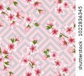 japanese cherry blossom patter... | Shutterstock .eps vector #1022836345