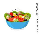 greek salad. flat vector... | Shutterstock .eps vector #1022847082