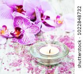 candle with orchids on a wooden ... | Shutterstock . vector #1022848732