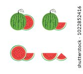 watermelon vector set.... | Shutterstock .eps vector #1022852416