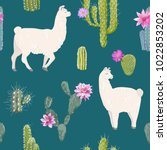 llama and cactus seamless... | Shutterstock .eps vector #1022853202