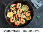 roasted shrimps with lemon ... | Shutterstock . vector #1022853598