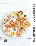 grilled shrimp skewers. seafood ... | Shutterstock . vector #1022856688