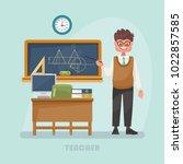 vector illustration with teacher | Shutterstock .eps vector #1022857585