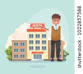 vector illustration with teacher | Shutterstock .eps vector #1022857588