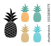 colorful pineapple vector... | Shutterstock .eps vector #1022858575