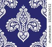 blue and white ornamental... | Shutterstock .eps vector #1022863012