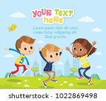 children happy jumping | Shutterstock .eps vector #1022869498