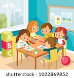 children at the art class | Shutterstock .eps vector #1022869852