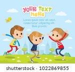cute kids jumping | Shutterstock .eps vector #1022869855