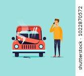 breakdown of the car. flat... | Shutterstock .eps vector #1022870572