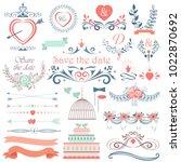 romantic hand drawn vector... | Shutterstock .eps vector #1022870692