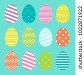 colorful easter eggs set in... | Shutterstock .eps vector #1022871922