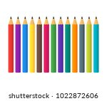 colored pencils in a flat style.... | Shutterstock .eps vector #1022872606