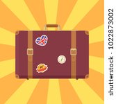 suitcase of brown color with... | Shutterstock .eps vector #1022873002