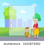 granny and granddaughter... | Shutterstock .eps vector #1022873302