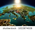 sunrise above croatia... | Shutterstock . vector #1022874028