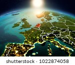 sunrise above netherlands... | Shutterstock . vector #1022874058